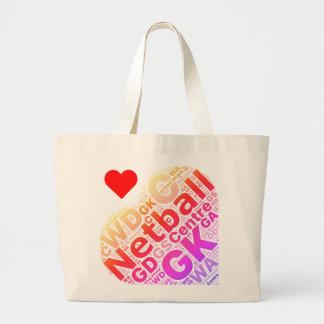 Bolsa Tote Grande Design do coração das posições do Netball do amor