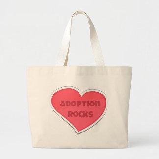 Bolsa Tote Grande Design do coração do rosa de rochas da adopção