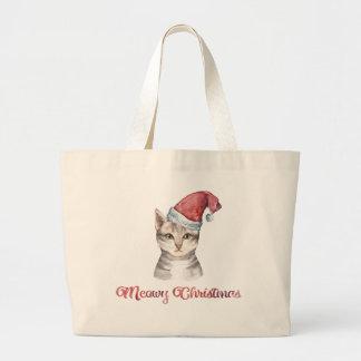 Bolsa Tote Grande Design do Natal de Meowy para amantes do gato