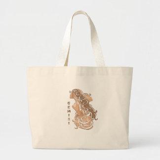 Bolsa Tote Grande Design do zodíaco dos Gêmeos