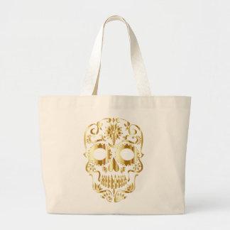 Bolsa Tote Grande Design dourado do crânio do açúcar