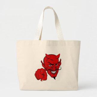 Bolsa Tote Grande Diabo que aponta o personagem de desenho animado