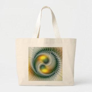Bolsa Tote Grande Do abstrato verde do amarelo de Yin Yang Fractal