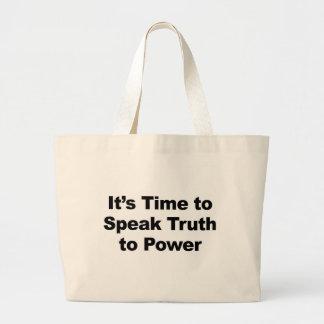 Bolsa Tote Grande É hora de falar a verdade ao poder