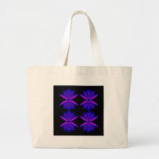 Bolsa Tote Grande Elementos azuis pretos do design