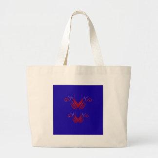 Bolsa Tote Grande Elementos do design vermelhos no azul