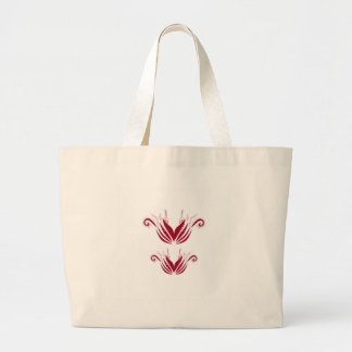 Bolsa Tote Grande Elementos do design vermelhos no branco