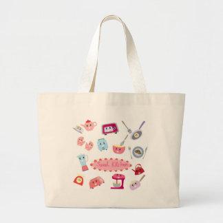 Bolsa Tote Grande Eletricidade cor-de-rosa doce da cozinha e ícone