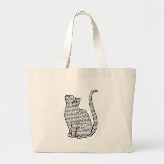 Bolsa Tote Grande etiqueta do livro de leitura do gato
