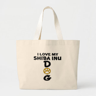 Bolsa Tote Grande Eu amo meu design do cão de Shiba Inu