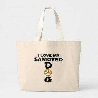 Bolsa Tote Grande Eu amo meu design do cão do Samoyed