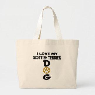 Bolsa Tote Grande Eu amo meu design escocês do cão de Terrier