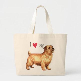 Bolsa Tote Grande Eu amo meu Norfolk Terrier
