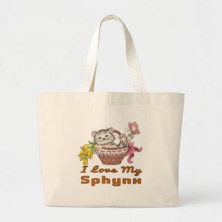Bolsa Tote Grande Eu amo meu Sphynx