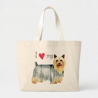 Bolsa Tote Grande Eu amo meu Terrier de seda