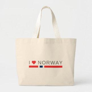 Bolsa Tote Grande Eu amo Noruega