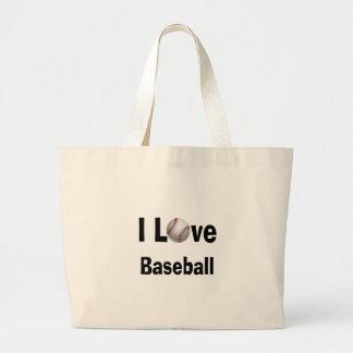 Bolsa Tote Grande Eu amo o basebol