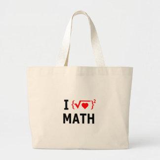 Bolsa Tote Grande Eu amo o branco da matemática