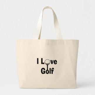 Bolsa Tote Grande Eu amo o golfe