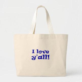 Bolsa Tote Grande Eu amo Yall