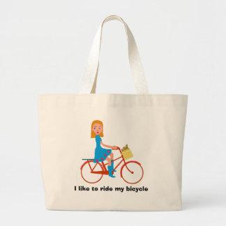 Bolsa Tote Grande Eu gosto de montar minha bicicleta