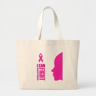 Bolsa Tote Grande Eu posso lutar mulheres do apoio ao cancer de mama