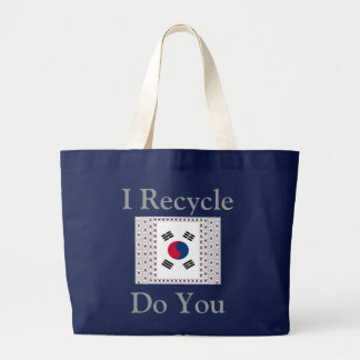 Bolsa Tote Grande Eu recicl faço-o Coreia do Sul