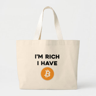 Bolsa Tote Grande Eu sou rico - eu tenho Bitcoin