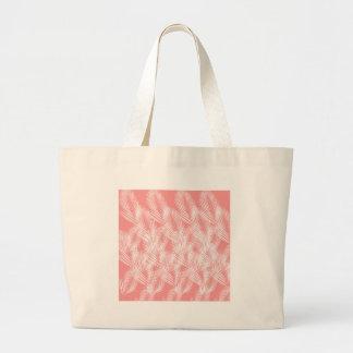 Bolsa Tote Grande Exotico do branco do rosa das palmas do design