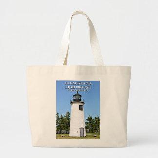 Bolsa Tote Grande Farol da ilha da ameixa, sacola de Massachusetts