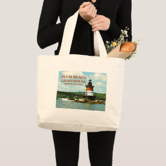 Bolsa Tote Grande Farol da praia da ameixa, Rhode - sacola da ilha