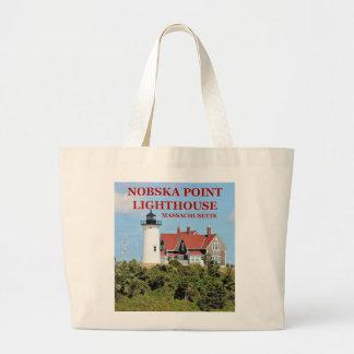 Bolsa Tote Grande Farol do ponto de Nobska, sacola de Massachusetts