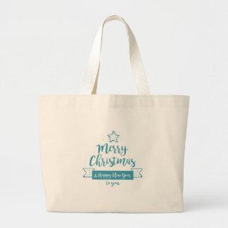 Bolsa Tote Grande Feliz Natal & elegante simples do feliz ano novo