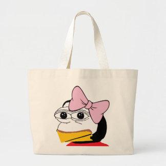 Bolsa Tote Grande #FEPE ELA com uma fita cor-de-rosa