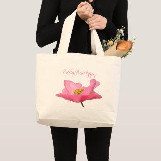 Bolsa Tote Grande Fim-acima cor-de-rosa de flutuação da papoila