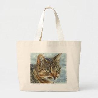 Bolsa Tote Grande Fim impressionante do gato de gato malhado acima