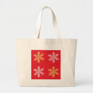Bolsa Tote Grande Floco de neve feito malha vermelho