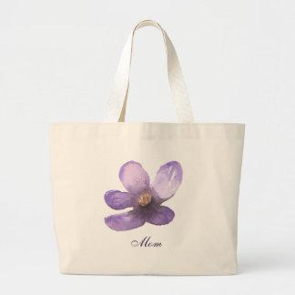 Bolsa Tote Grande Flor bonita do roxo da aguarela da mamã