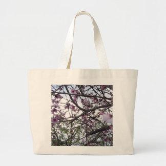 Bolsa Tote Grande Flor de cerejeira cor-de-rosa