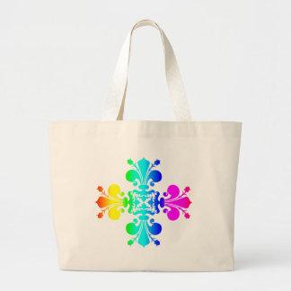 Bolsa Tote Grande Flor de lis do arco-íris
