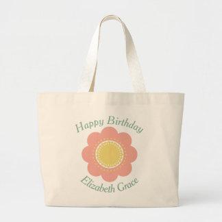 Bolsa Tote Grande Flor do rosa e do amarelo de bebê do vintage