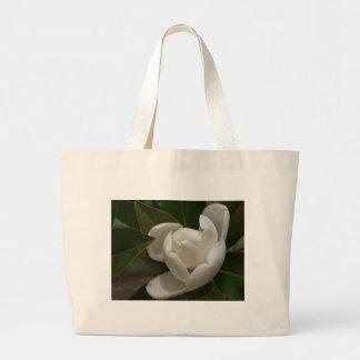 Bolsa Tote Grande flor em botão branca de magnólia do sul