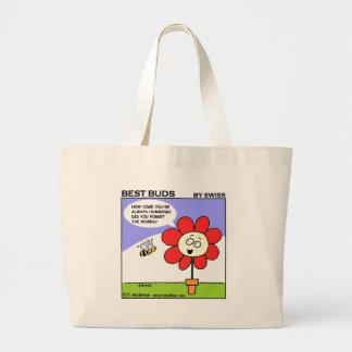 Bolsa Tote Grande Flor vermelha engraçada e abelha musical do