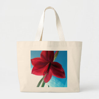 Bolsa Tote Grande flor vermelha vívida do Amaryllis 108a