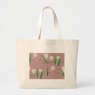 Bolsa Tote Grande Flores brancas do açafrão