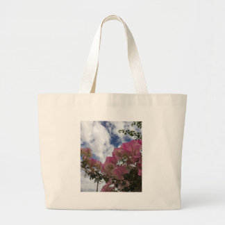 Bolsa Tote Grande flores cor-de-rosa contra um céu azul
