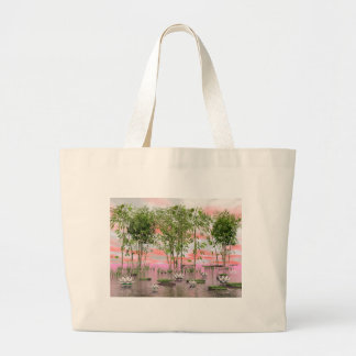 Bolsa Tote Grande Flores e bambus de Lotus - 3D rendem