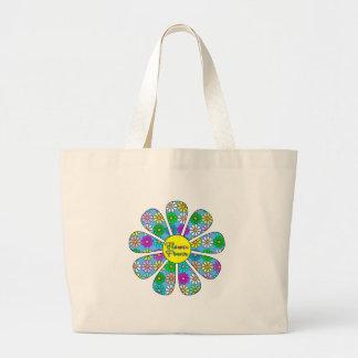 Bolsa Tote Grande Flower power feliz