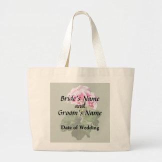 Bolsa Tote Grande Fontes vermelhas e cor-de-rosa do casamento do