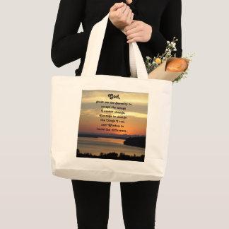 Bolsa Tote Grande Foto do por do sol do Seascape da oração da